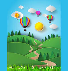 hot air balloon high in the sky with sunlight vector image vector image