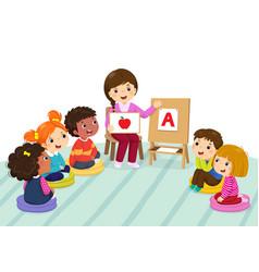 preschool kids and teacher sitting on the floor vector image