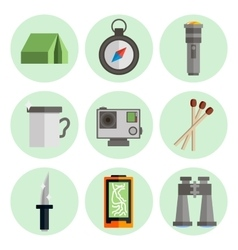 Survival kit flat icons set vector image