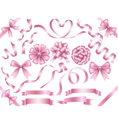 a set of assorted pink ribbons vector image