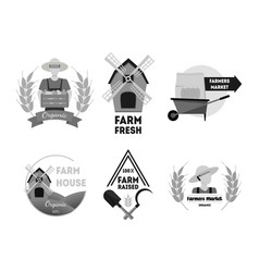 cartoon silhouette black farm labels set vector image vector image