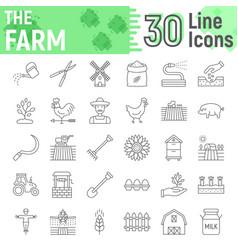 farm thin line icon set farming symbols vector image