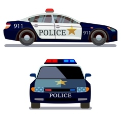 Police car front and side view vector image
