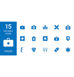 15 cross icons vector image