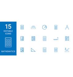 15 mathematics icons vector image