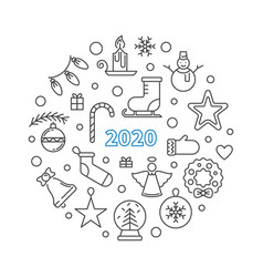 2020 merry christmas concept round outline vector image