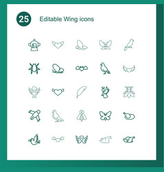 25 wing icons vector