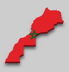 3d isometric map morocco with national flag vector