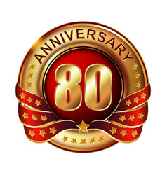 80 anniversary golden label with ribbon vector image