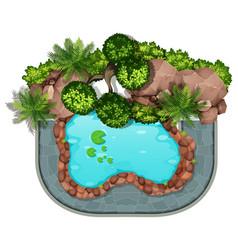 Aerial pond nature scene vector