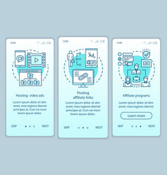 Affiliate marketing turquoise onboarding mobile vector