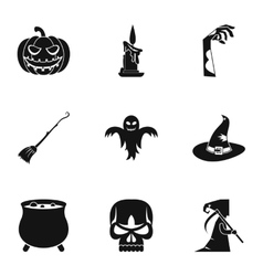 All saints day icons set simple style vector image