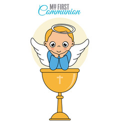 Angel boy with chalice vector