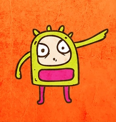 Angry alien cartoon vector