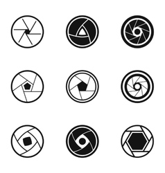 Aperture photocamera icons set simple style vector