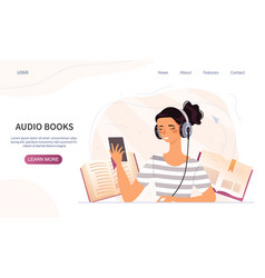 Audio books concept with woman listening vector