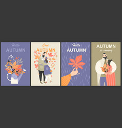 autumn set with cute characters and bouquets vector image