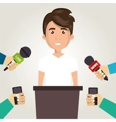 Avatar man with news microphones vector
