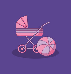 Baby shower card with cart with balloon vector