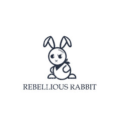 bad rabbit logo cowboy rabbit can use for your vector image