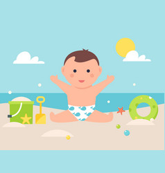 Basitting on sandy beach with toys and pool vector