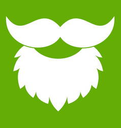 beard and mustache icon green vector image
