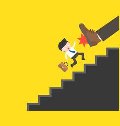 Big foot kicking cute businessman fall from vector