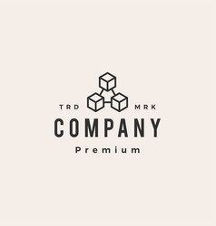 block chain hipster vintage logo icon vector image