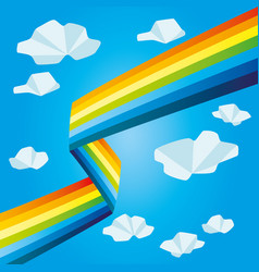 Bright rainbow and clouds vector