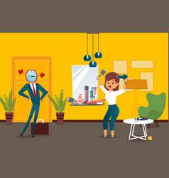 businessman watchhead employee vector image