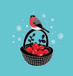cartoon basket with red berries an winter vector image