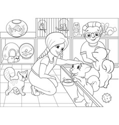 children coloring cartoon contact zoo vector image