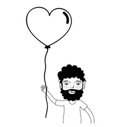 Contour man with beard and heart balloon in the vector