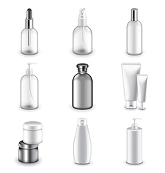 Cosmetic bottles icons set vector
