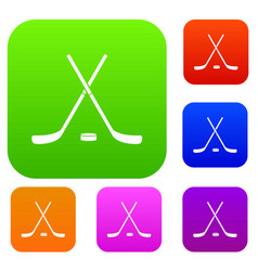 crossed hockey sticks and puck set collection vector image