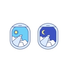 Day and night airplane window views vector