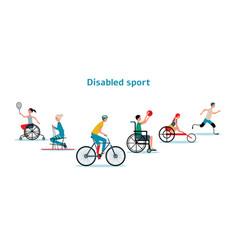 Disabled athletes sport activity - flat cartoon vector