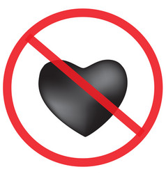 Do not love with black heart sign vector