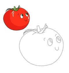 Educational game connect dots draw tomato vector