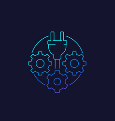Electric plug with gears linear icon vector