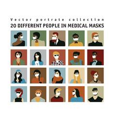 Epidemic virus people medical masks people vector