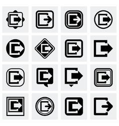 Exit icon set vector image