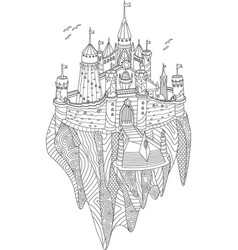 fantasy castle on a flying island vector image