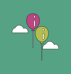 flat icon design collection two balloons in sky vector image