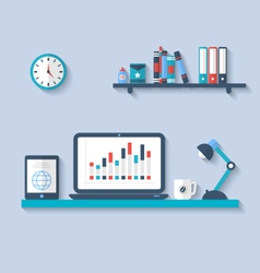 Flat icon of modern office interior with designer vector image