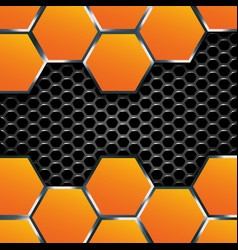 Geometric pattern of hexagons with metal plates vector