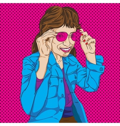 Girl with pink glasses vector image