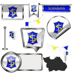 Glossy icons with flag of surabaya indonesia vector