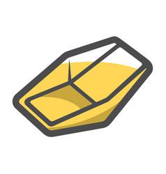 Gold mining tray icon cartoon vector