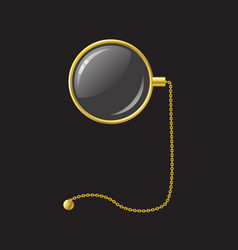 Golden monocle with chain - modern vector